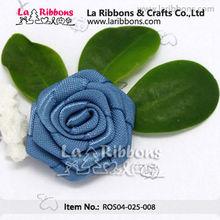 Blue Satin Ribbon Rose Trim