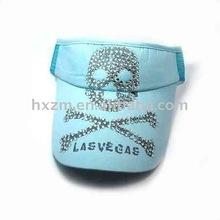 sky blue skull street style fashion washed sun visor cap