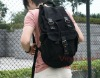 2352 black 100% cotton canvas sports bag, school backpack, trolley backpack