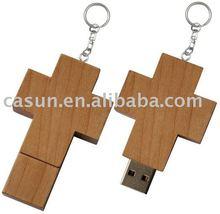 wooden cross usb flash memory