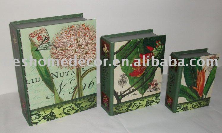 Natural FLOWERP hojas verdes recuerdo cajas de libros