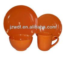 16pc orange stoneware dinnerware set