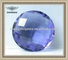 violet round checkerboard facet precious cubic zirconia
