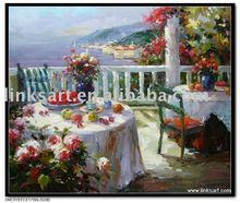 Handmade Oil Painting Garden Scenery Oil Paintings