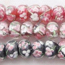 inner flower lampwork vintage beads
