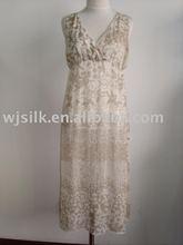 Long floral silk chiffon dress