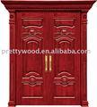 100% sólida puerta de madera de teca maciza de madera de doble puerta