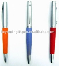 half metal ball pen with rubber grip