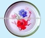 round tray enamel, decorated/plain