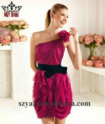 Chiffon One Shoulder Handmade Flower Mini Length Cocktail Dress 2013