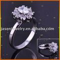Forma de flor 925 anel de prata