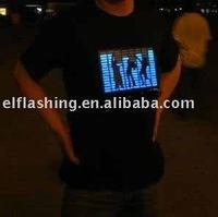 musical activated Flash EL T-Shirts   Flashing EL T-Shirt   Light Up LED T-Shirt