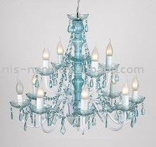 23 year factory-big blue color acrylic remote control chandelier light (120011)