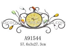 Metal wall art with clock