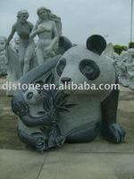 Stone Panda Sculpture