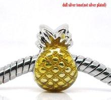 Beads Fit Charm Bracelets, pineapple, zinc metal alloy, silver tone, enamel yellow, 12x9mm. Sold per packet of 20