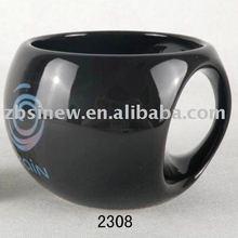 Funny shaped black color glazedceramic creative beer mug