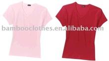 women bamboo short sleeve V-neck basic T-shirts