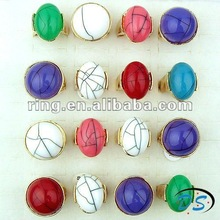 Fashion gold plated Turquoise Gemstone rings