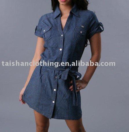 Dril de algodón womens' vestido casual