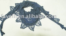 Fashion Cotton Triangle Scarf With Lace