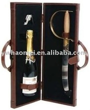 PU/PVC champagne case, luxury wine carrier, faux leather champagne carry case