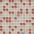 kristal cam mozaik duvar karosu 25x25x8mm kırmızı ve beyaz karışımı banyo