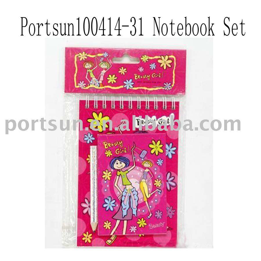 cartoon spiral notebook set