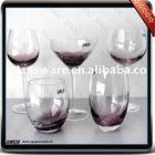 wine glass set with purple color crackle decoration