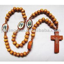 Costume jewelry wood cord Catholic rosary with saint image