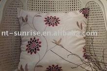 Embroidered mocha TOk sofa cushion