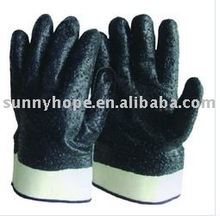 Safey cuff ,blue color sandy nitrile working gloves