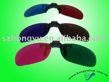 clip on red cyan 3D anagiyph glasses for near sighted people