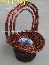 round wicker plant basket