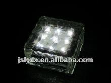 [CE RoHS]Solar brick light (15*15*5cm)led glass brick for outdoor use
