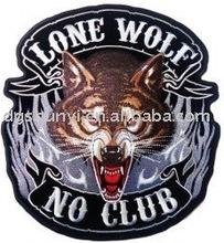 1PC embroider lone wolf no club badges10cm x 8cm