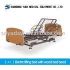 A1 electric lifting nursing bed with wood bed head moq is 5 sets
