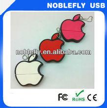 good quality keychain pvc apple shape 16gb flash drive usb