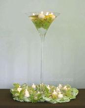 Good quality hand blown glass vase martini shape vases