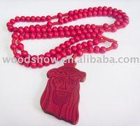 wooden jesus rosary, wood pendants