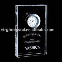 Unique Crystal Block Desk Clock Awards Timepiece /Promotional Clock