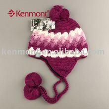 Lady's fashion hand-knitting winter ear flap beanie caps