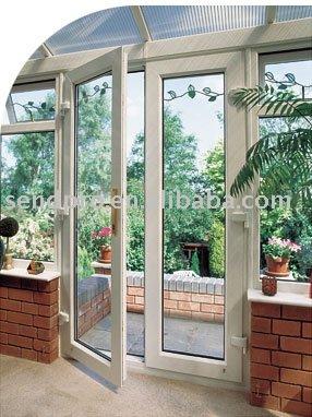 60 s rie pvc porte fen tre avec panneau de verre pour for Porte de jardin en pvc