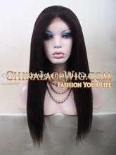 Stock1b color silk straight long style Ladies Human hair Full Lace Wig