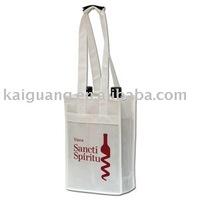 2014 Promotional 2 bottle non woven reusable wine bag/tote