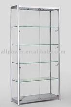 Free standing display cases, aluminum profiles, tempered glass, halogen lights illuminations, MDF showcase