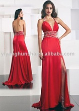 Sexy Red Halter Backless Long Split Side Prom Dresses