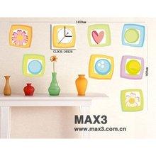 26B051 Funny Kids Wall Sticker Clock,Cheap Home Decoration