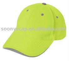 reflective tape on sandwich baseball cap,polyester neon