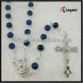 6mm profundo azul ronda perlas de vidrio rosario católico